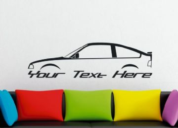 Large Custom car silhouette wall sticker - for Honda CRX  1st gen | ballade | retro classic sports